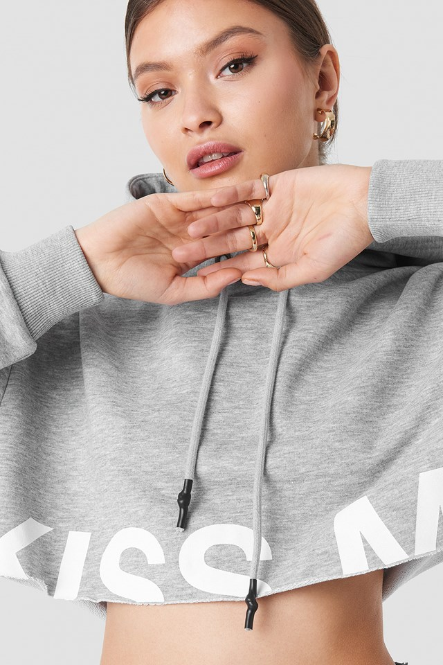 """Kiss Me"" Cropped Oversized Hoodie Grey Marl"