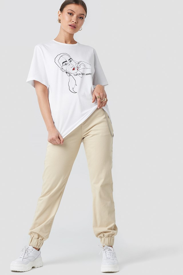 """Let's Get Away"" Oversized Tshirt White"