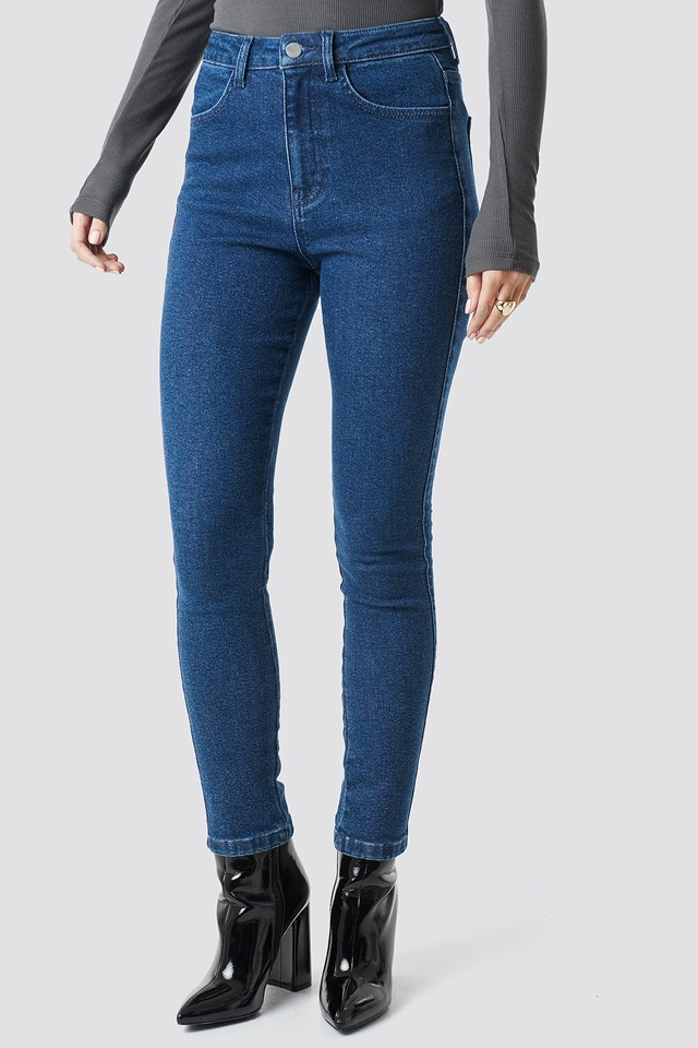 High Waist Slim Leg Denim Dark Blue