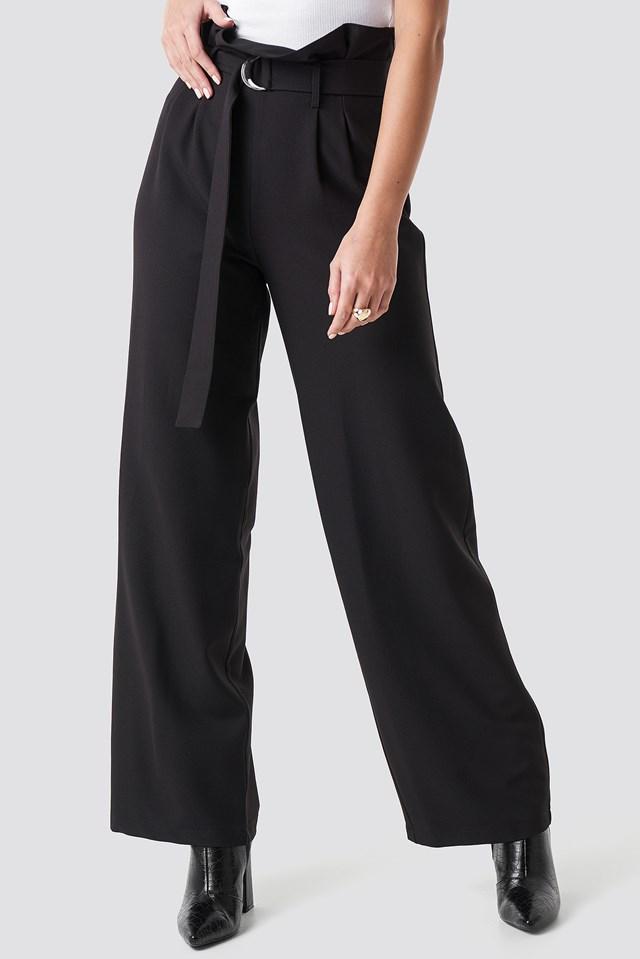 High Waist Wide Leg Pants Black