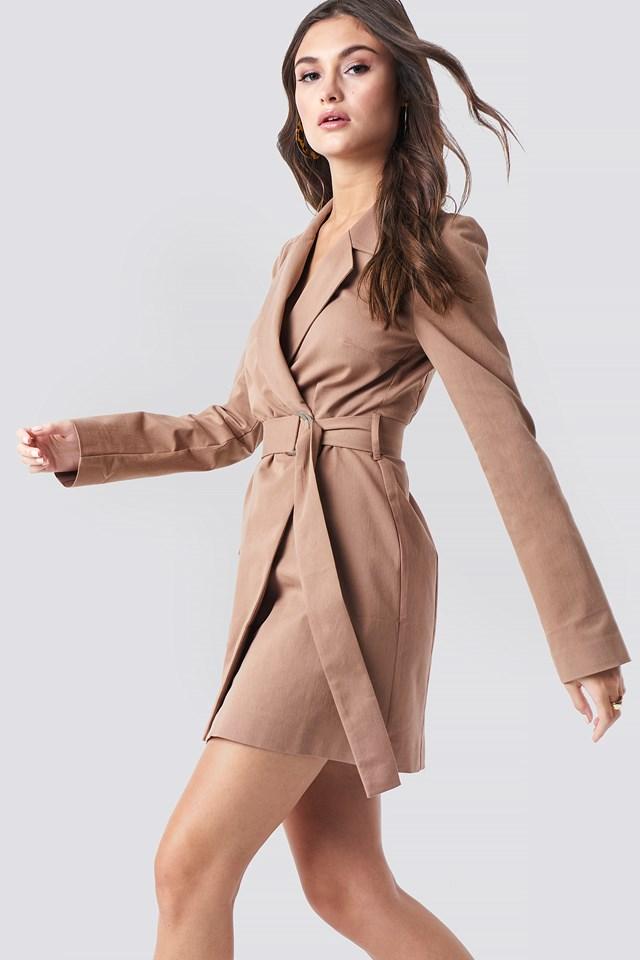 Overlapped Belted Blazer Dress Brown