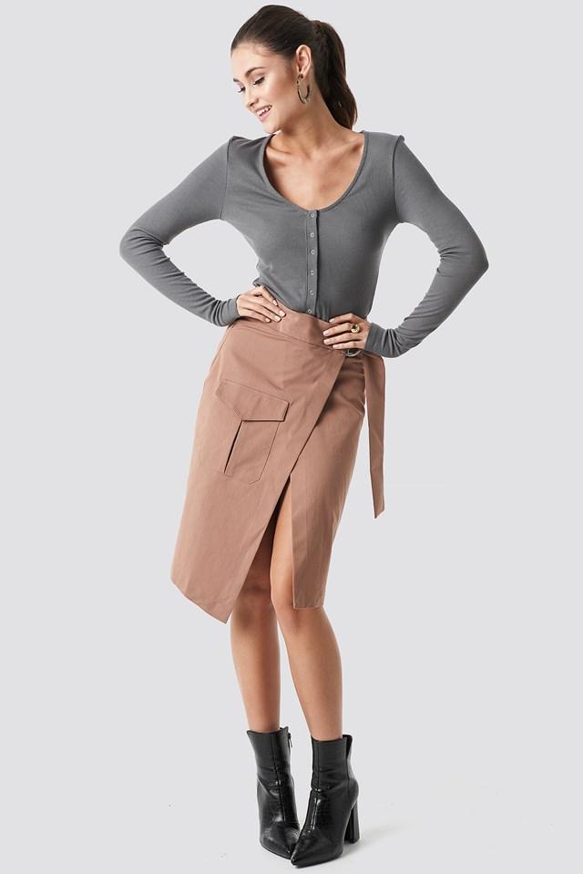 Overlapped Belted Midi Skirt Brown