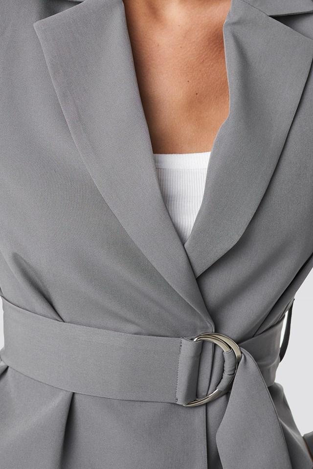 Shoulder Padded Short Blazer Grey