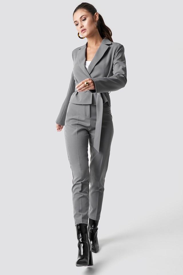 Tailored Slim Suit Pants Grey
