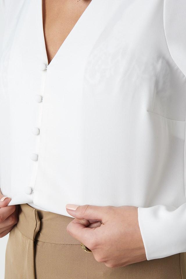 V-neck Button Up Blouse White