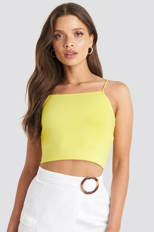 Cropped Spagetti Strap Singlet Bright Yellow