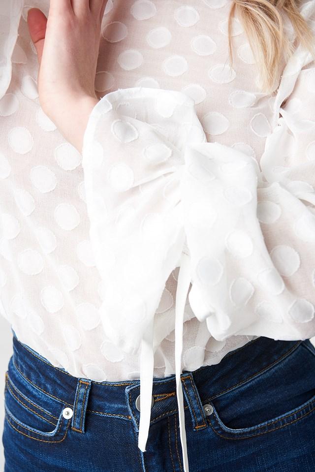Dotted Chiffon Blouse White