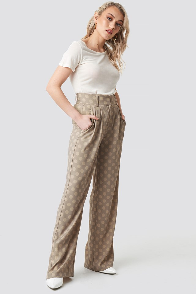 Spotted Wide Leg Trousers Kae Sutherland x NA-KD