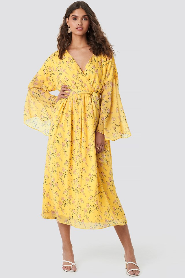Big Sleeve Belted Maxi Dress Yellow Flower