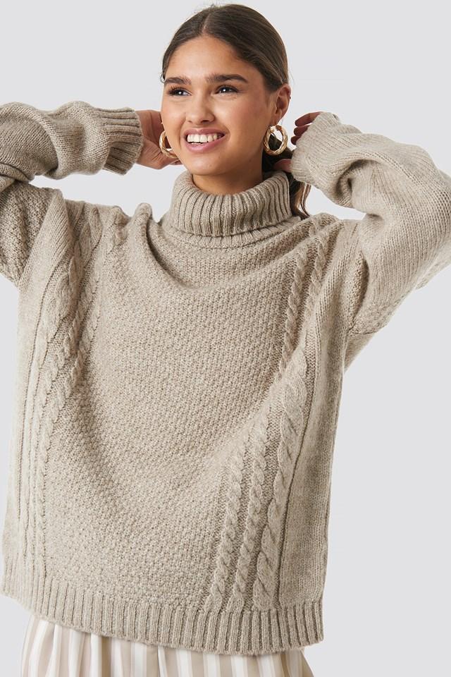 Cable Knit Turtleneck Sweater Kae Sutherland x NA-KD