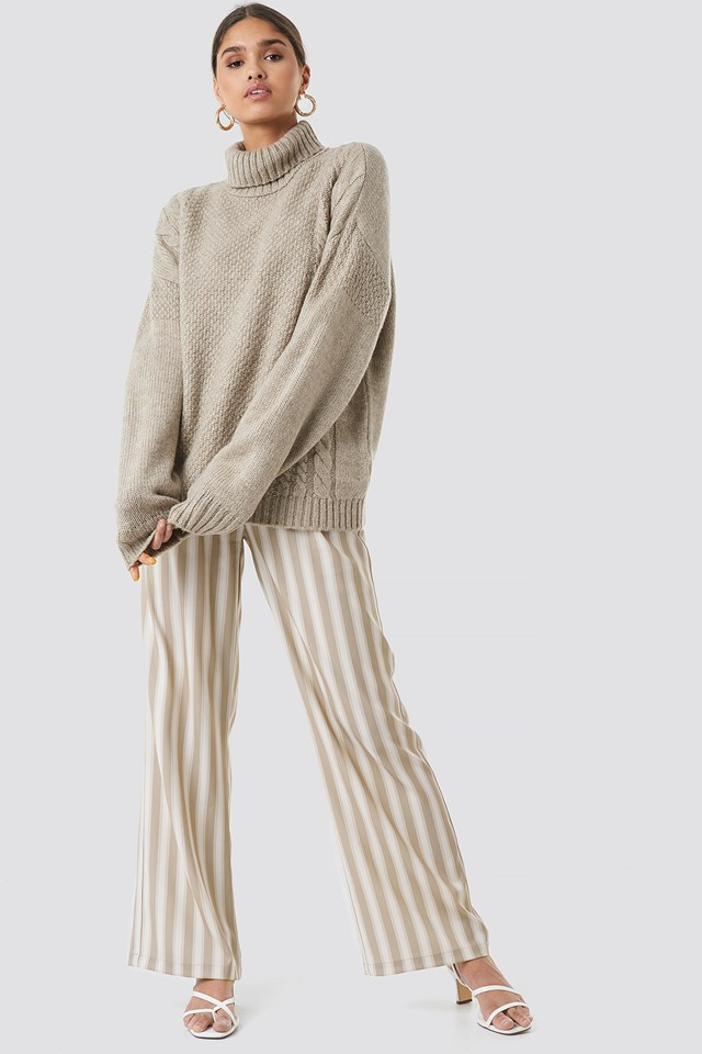 Cable Knit Turtleneck Sweater Beige