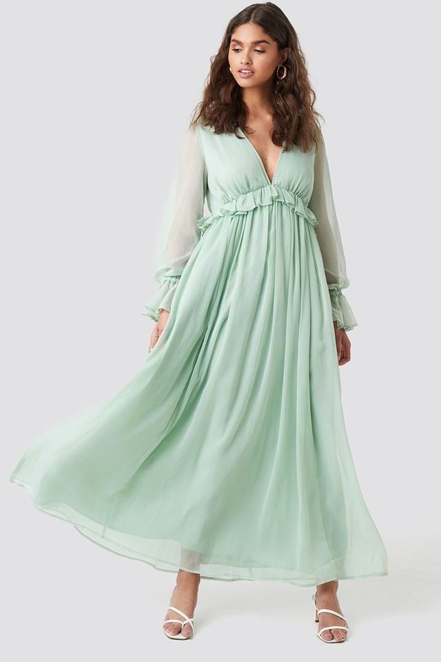 Deep V Neck Maxi Dress Mint