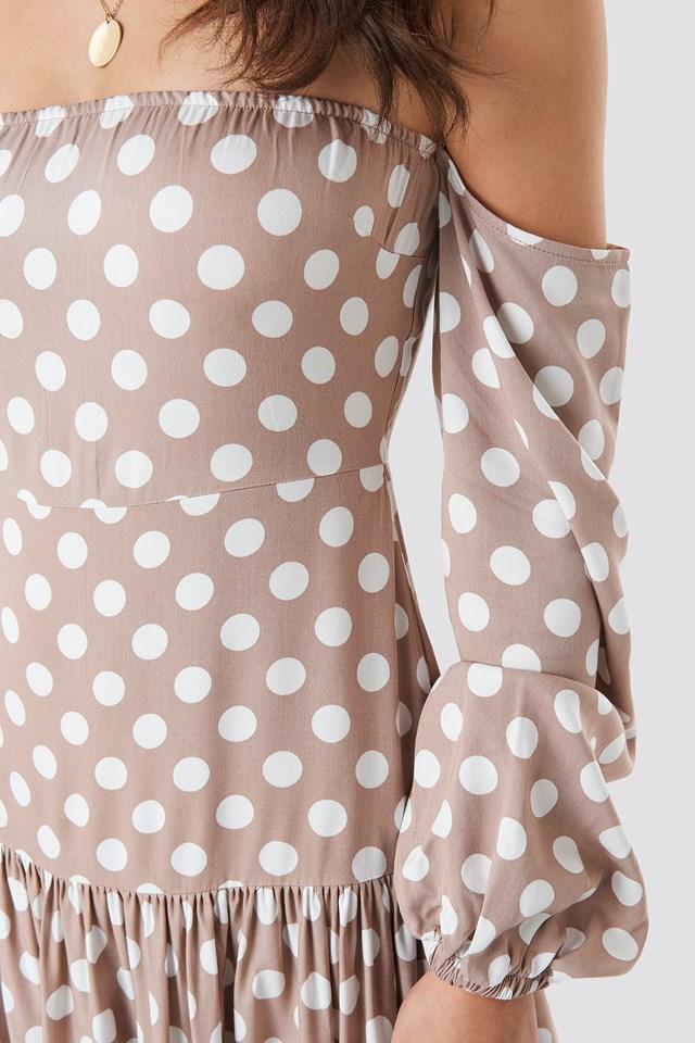 Polka Dot Maxi Dress Beige/White