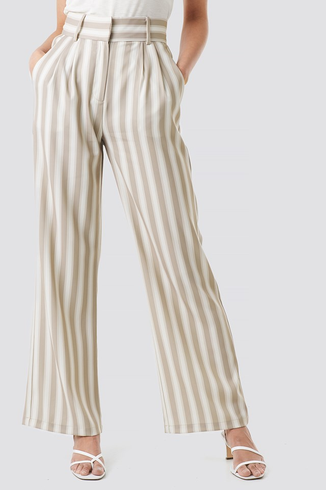 Tailored Striped Trousers Beige