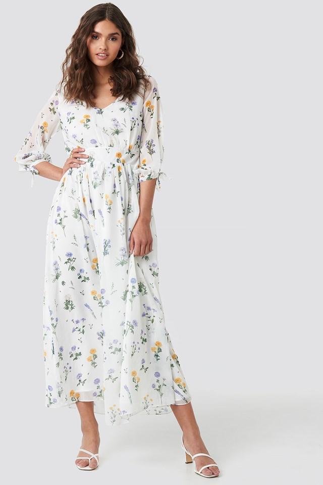 V Neck Maxi Dress Multi White