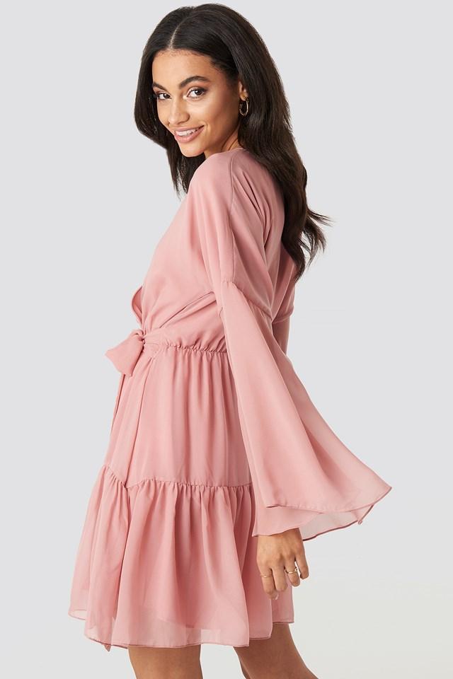 Wide Sleeve Mini Dress Pink
