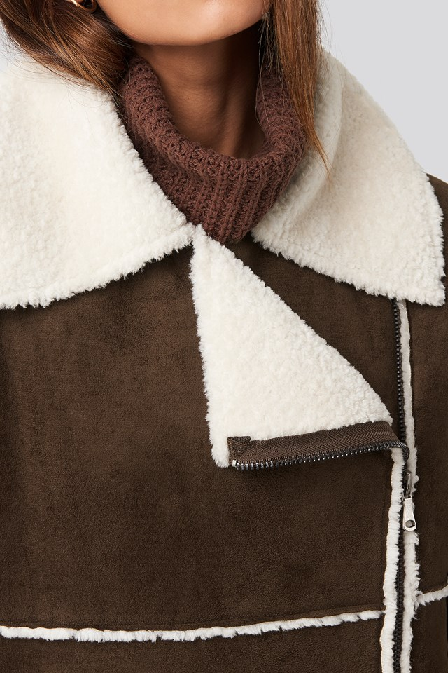 Belted Faux Fur Aviator Jacket Brown
