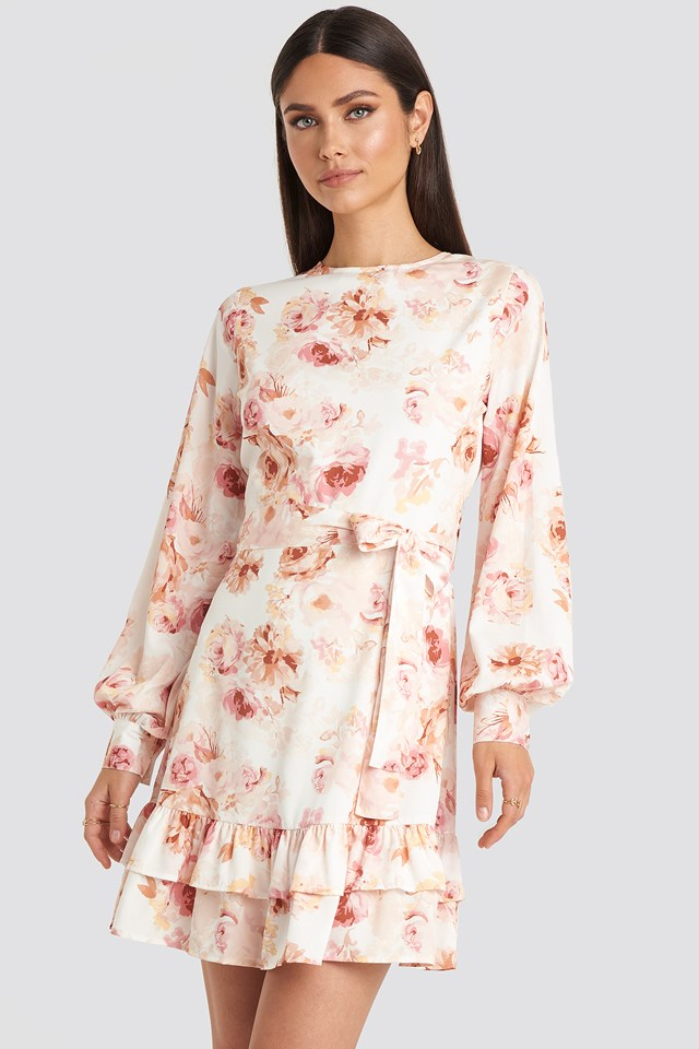 Balloon Sleeve Mini Dress Flower Print