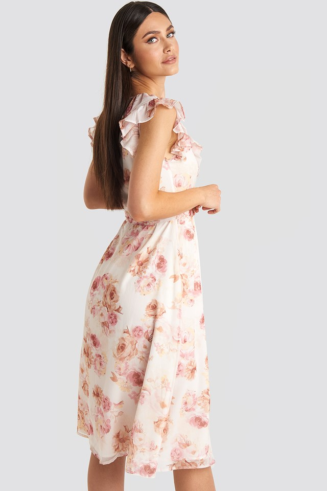 V-neck Flounce Midi Dress Flower Print