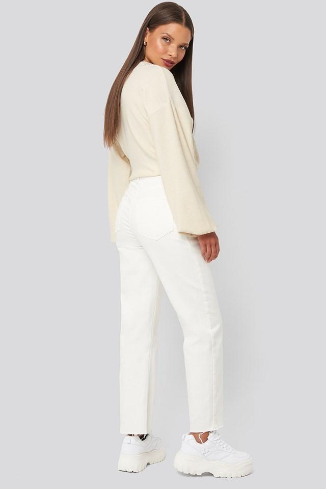 Raw Hem Mom Jeans Off White