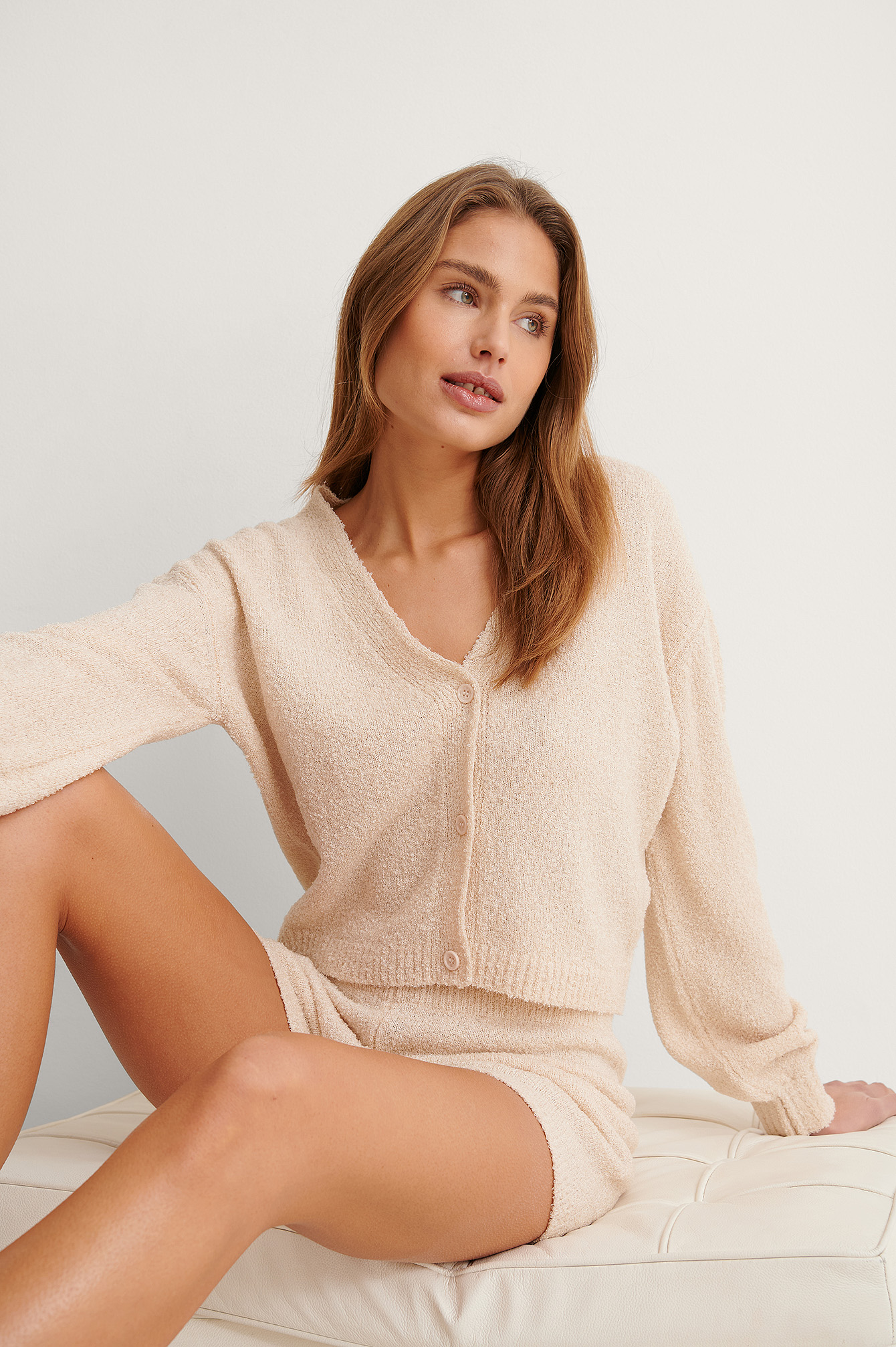 Light Beige Knitted Cardigan