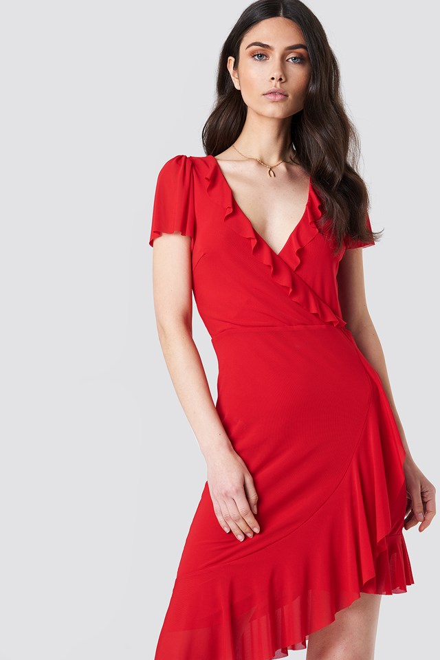 Asymmetric Frill Mesh Dress Red
