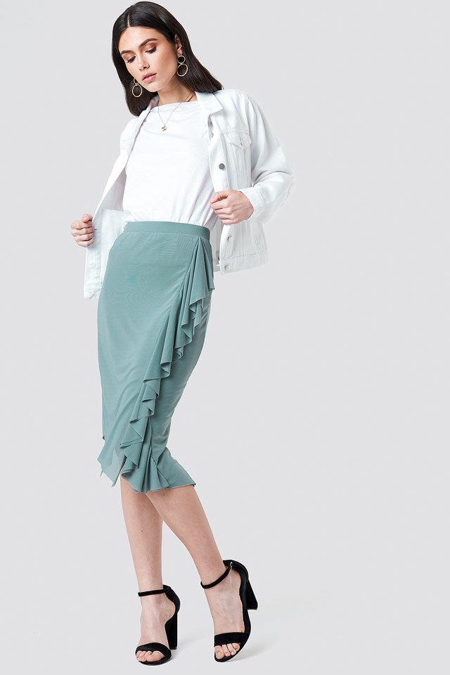Front Frill Mesh Skirt Dusty Green