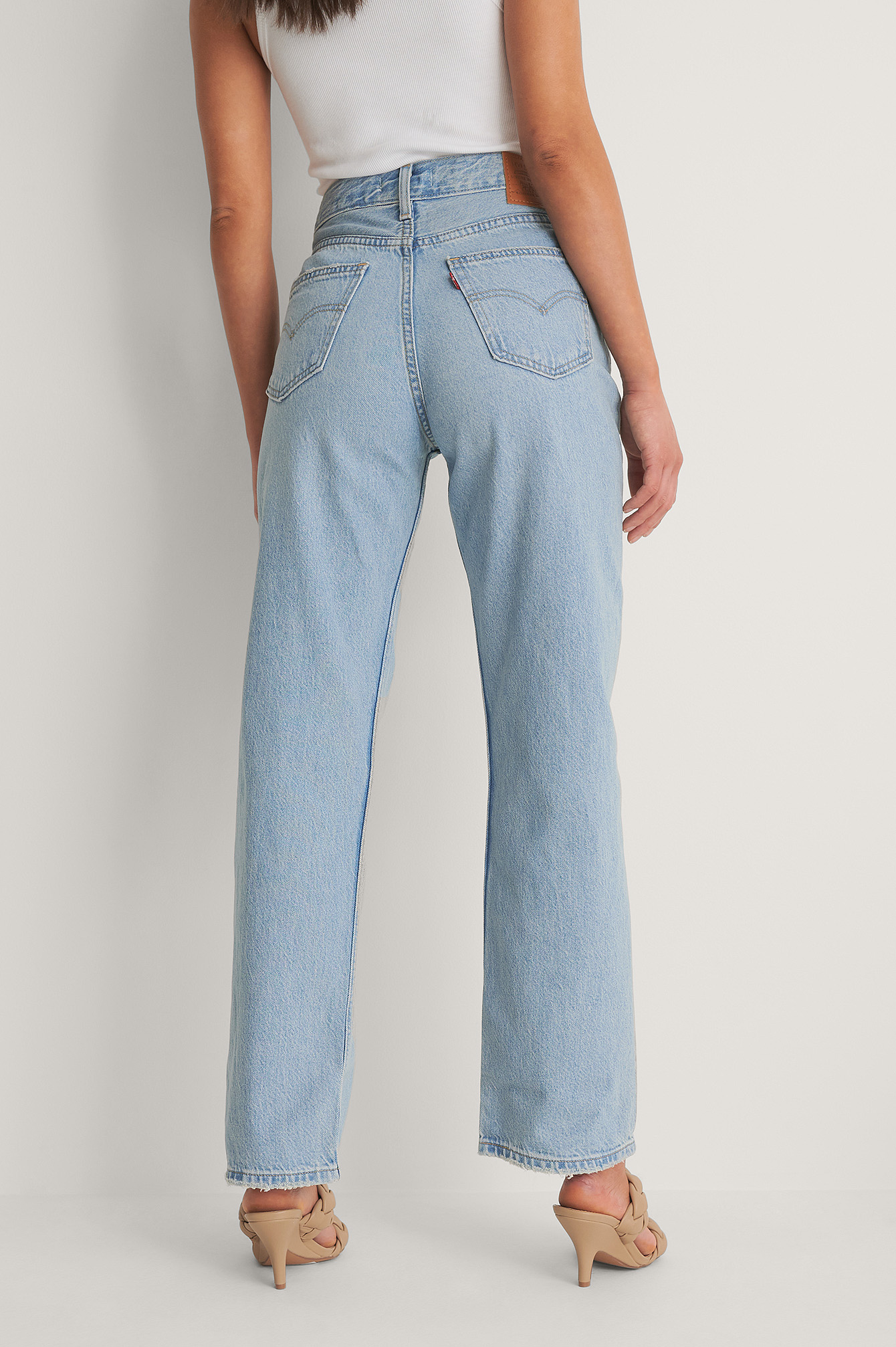 Light Indigo - Worn In Loose Straight Jeans Low Bow