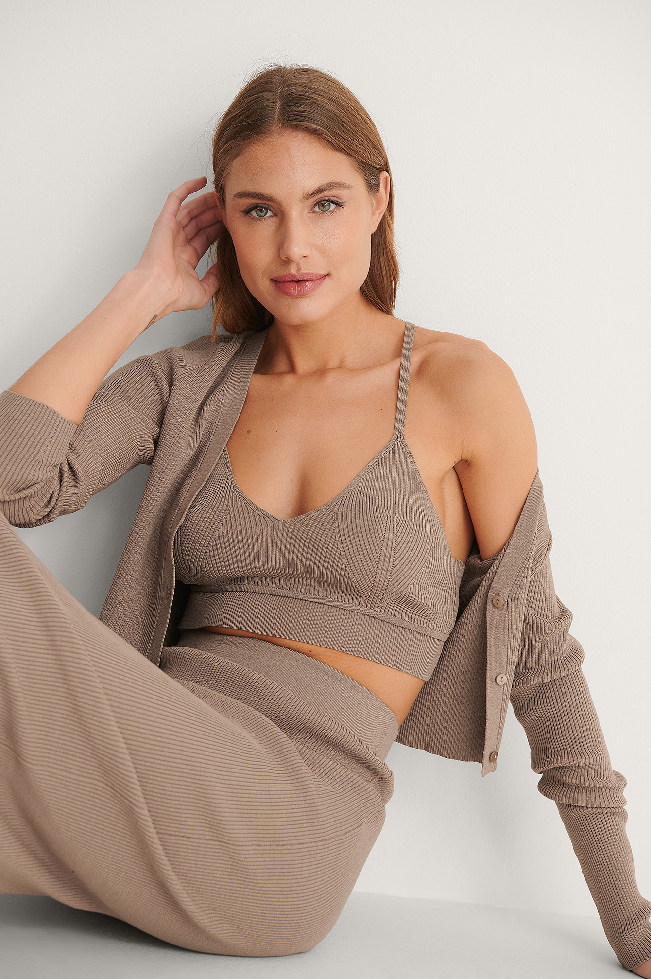Nougat Light Rib Knitted Top