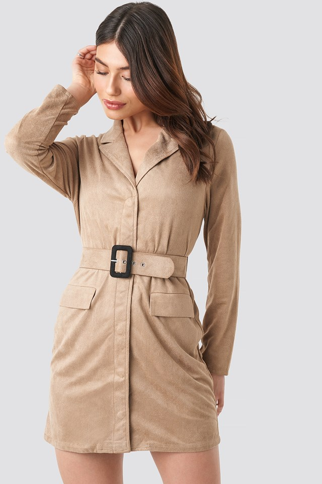 Faux Suede Dress Beige