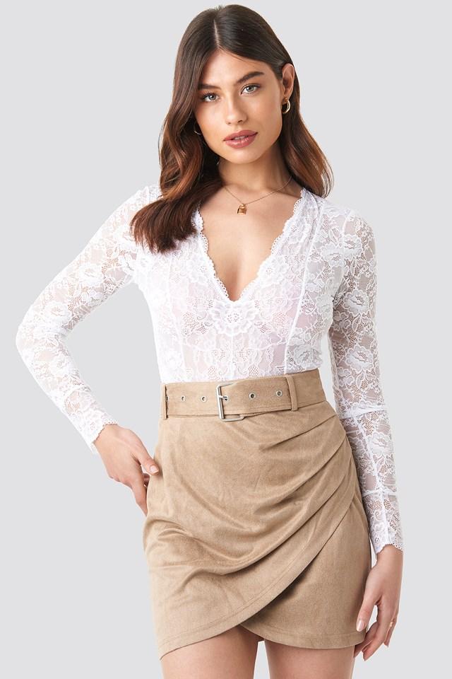Faux Suede Mini Skirt Beige