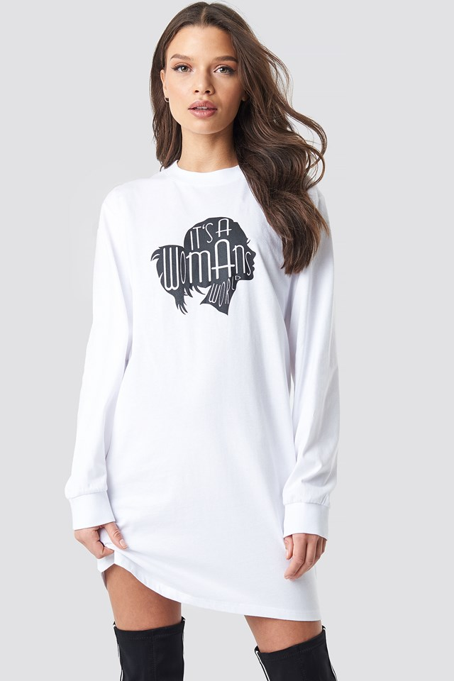 Oversized LS T-Shirt Dress White