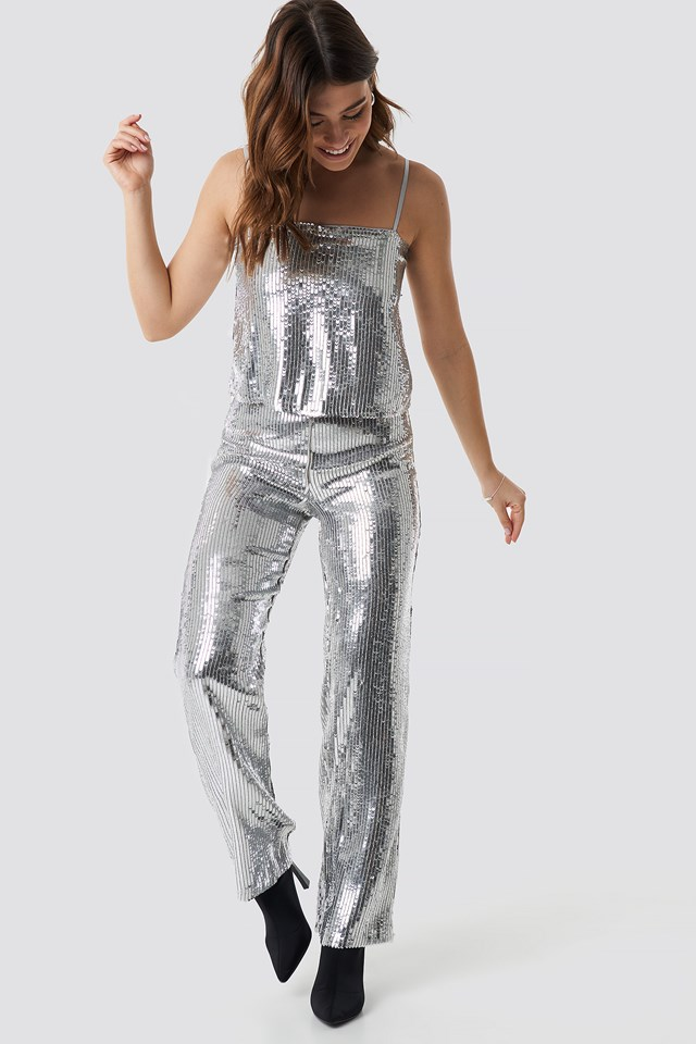 Sparkle Striped Flared Pants Silver