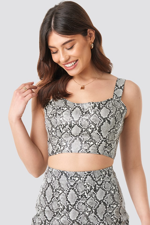 Snake Printed PU Crop Top Snake