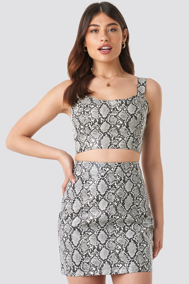 Snake Printed PU Mini Skirt Snake