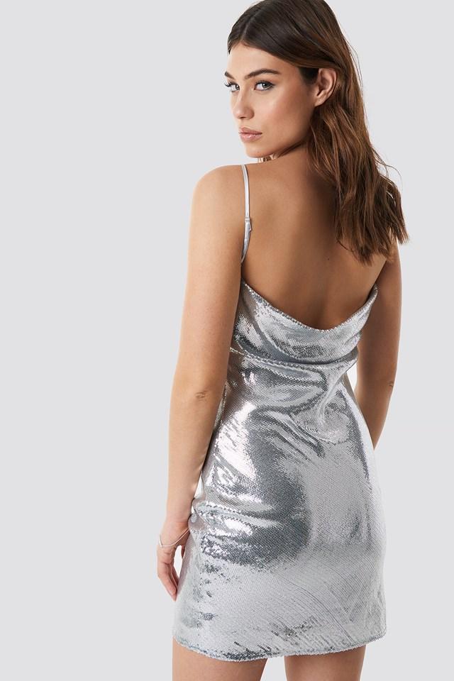 Waterfall Back Dress Silver