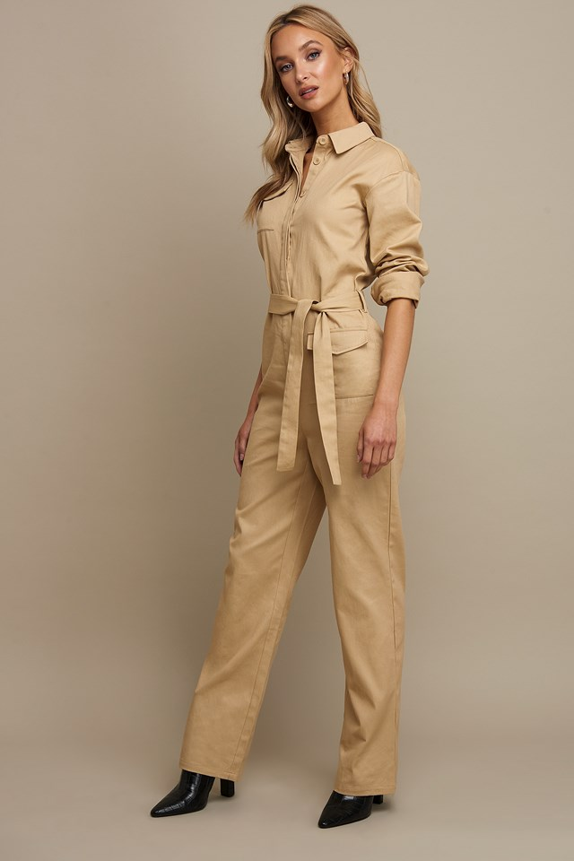 Front Pocket Jumpsuit Beige