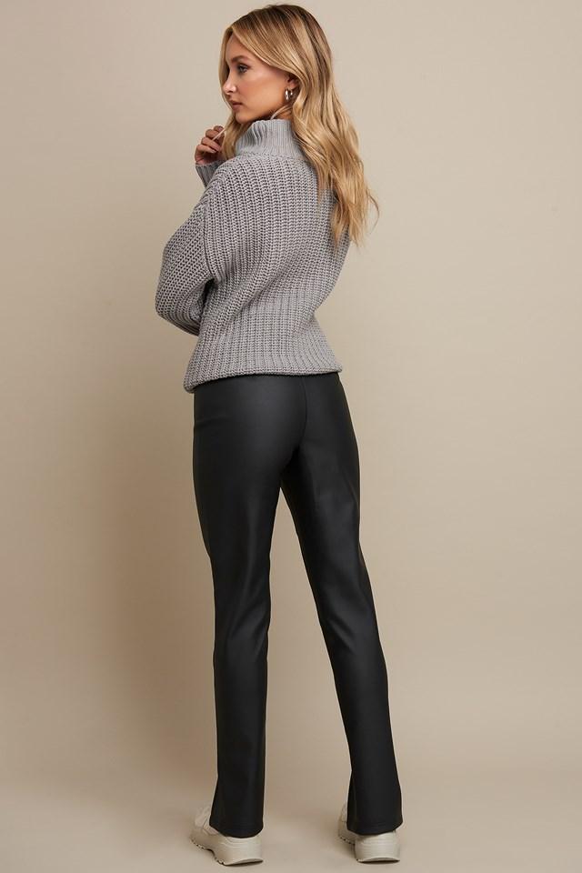 Front Slit PU Zipper Pants Black