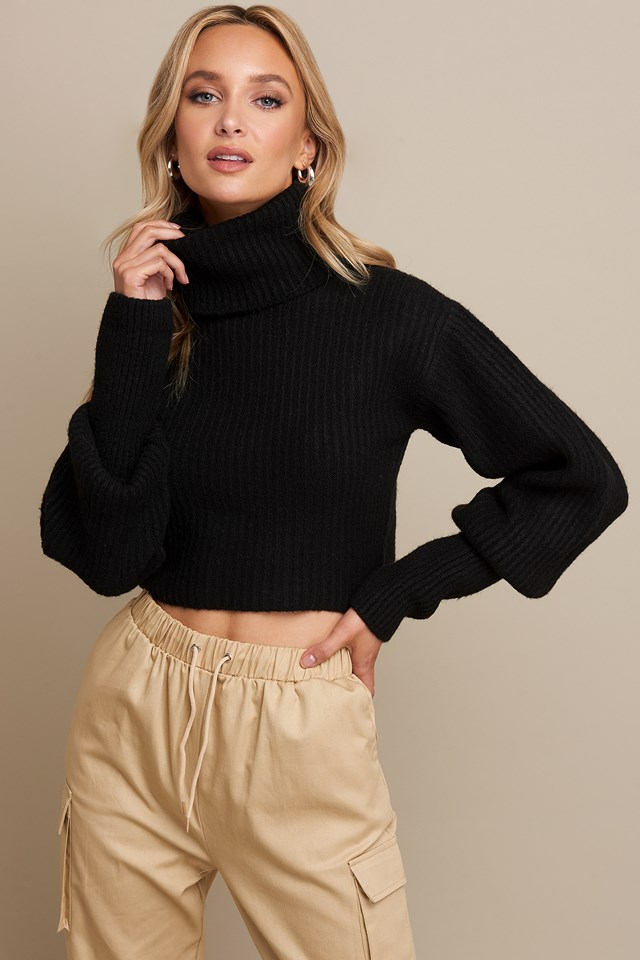High Neck Cropped Sweater Black
