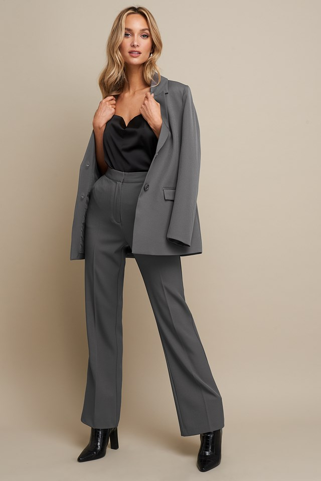 High Waist Flared Leg Suit Pants Grey