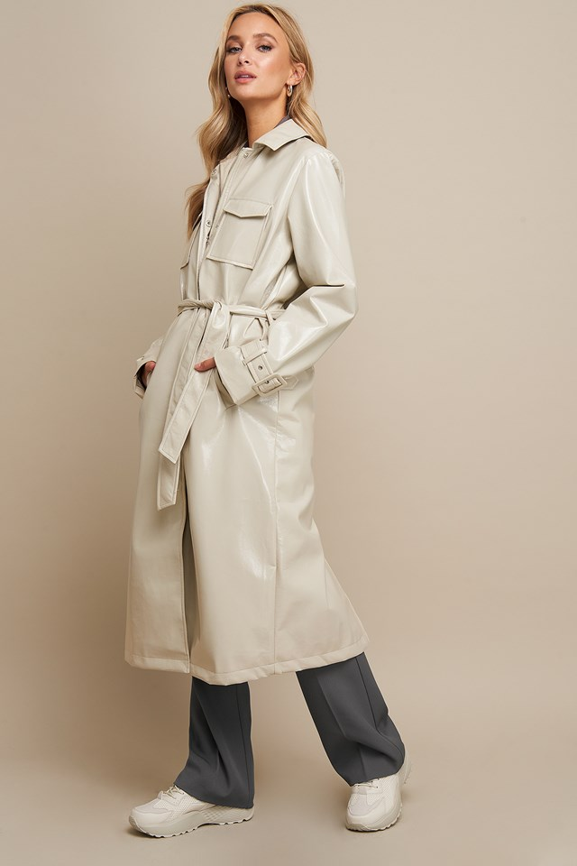 Patent Long Jacket Beige