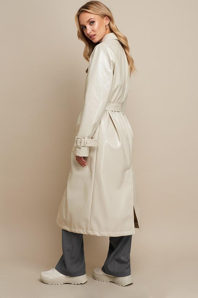 Patent Long Jacket Beige
