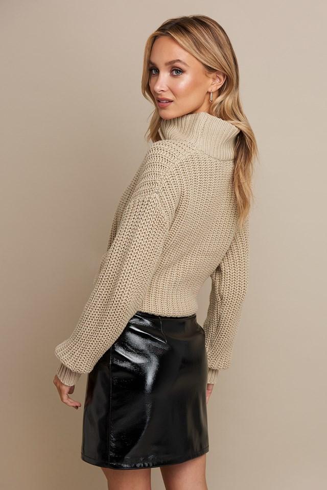 Patent Zipper Skirt Black