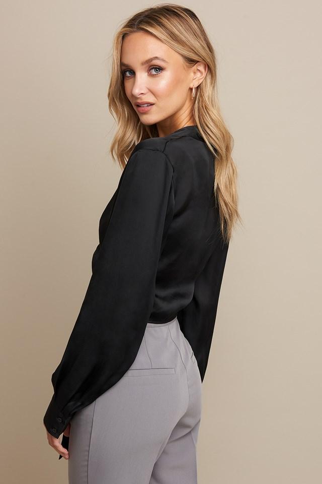 Tie Front Shirt Black