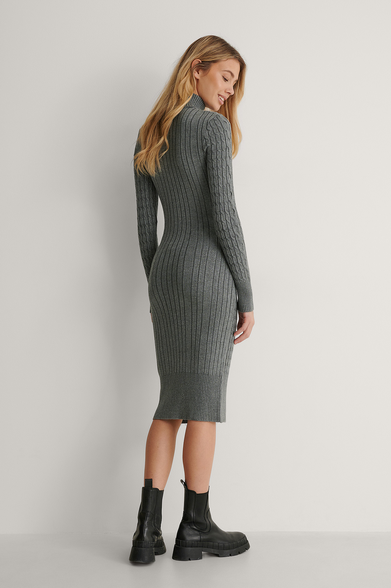 Grey Cable Knitted Midi Dress