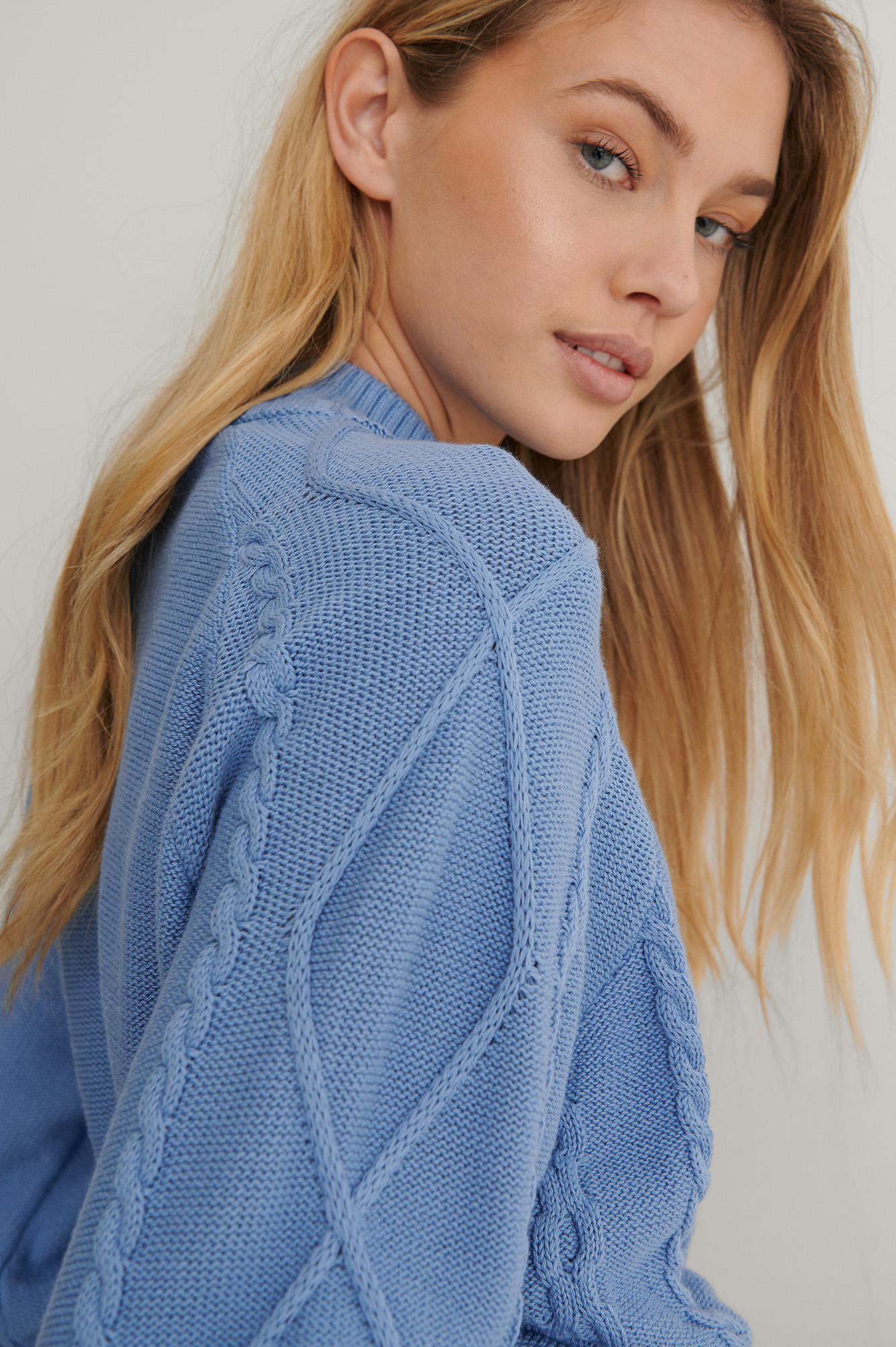Blue Organic Volume Sleeve Knitted Sweater