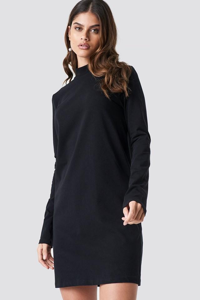 High Neck Jersey Dress Black