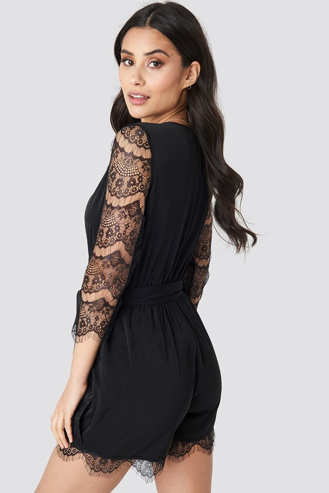 Lace Playsuit Black