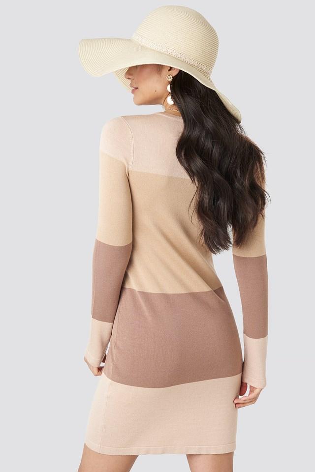 Light Knit Blocked Dress Light Beige