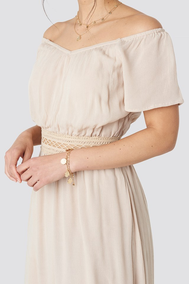 Off Shoulder Lace Dress Light Beige